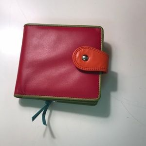 Leather color block wallet